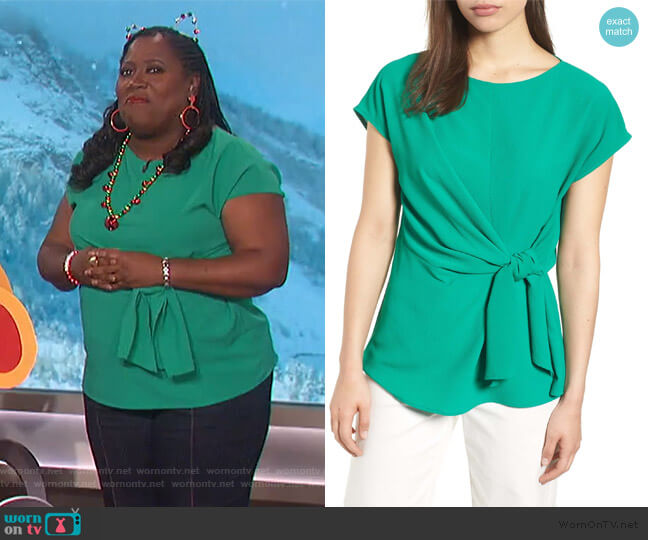 Tie Front Blouse by Gibson worn by Sheryl Underwood  on The Talk