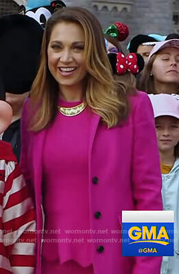 Ginger's pink peplum sweater and coat on Good Morning America