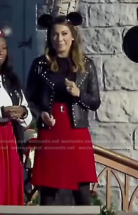 Ginger's studded jacket and red wrap skirt on Good Morning America
