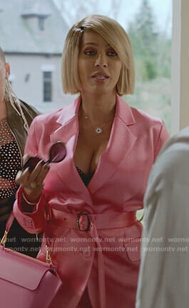 Giselle's pink belted satin suit on Empire