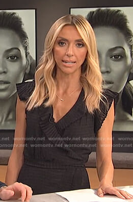 Giuliana's black pleated wrap dress on E! News