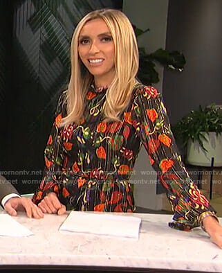Giuliana's black floral mini dress on E! News