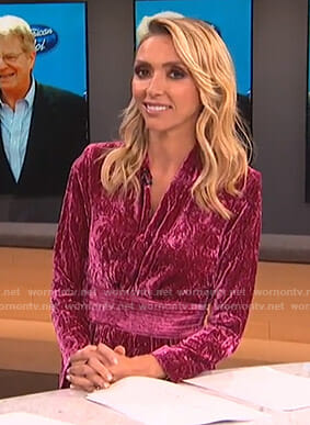 Giuliana's pink velvet mini dress on E! News