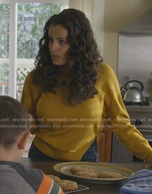Grace's yellow side slit sweater on Manifest