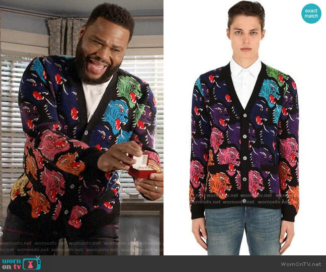 Gucci Angry Tiger Cardigan worn by Andre Johnson (Anthony Anderson) on Blackish