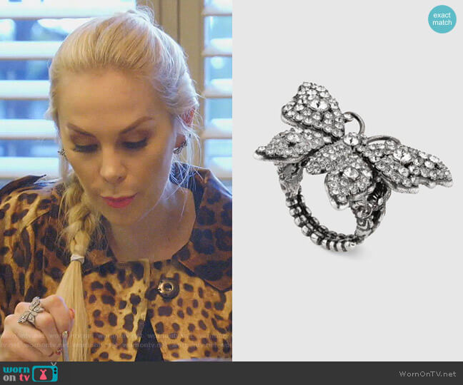 Crystal Studded Butterfly Ring by Gucci worn by Kameron Westcott  on The Real Housewives of Dallas