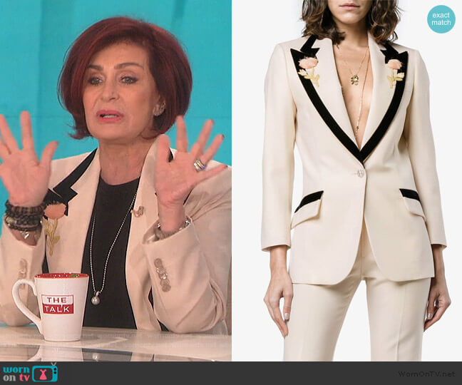 Floral-Embroidered Wool Jacket by Gucci  worn by Sharon Osbourne (Sharon Osbourne) on The Talk