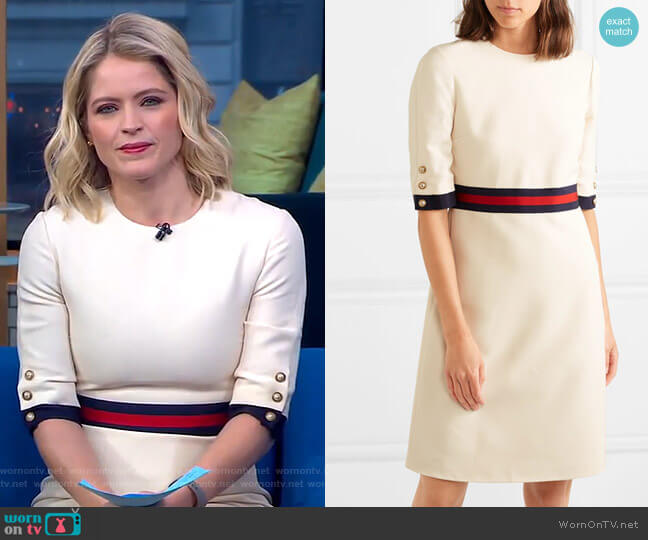 Grosgrain-Trimmed Mini Dress by Gucci worn by Sara Haines  on Good Morning America