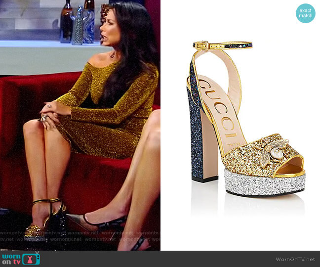 Soko Glitter Platform Sandals by Gucci worn by LeeAnne Locken  on The Real Housewives of Dallas