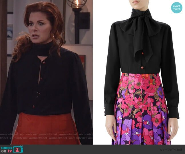 Long-Sleeve Lady Bug Button Tie-Neck Blouse by Gucci worn by Grace Adler (Debra Messing) on Will & Grace