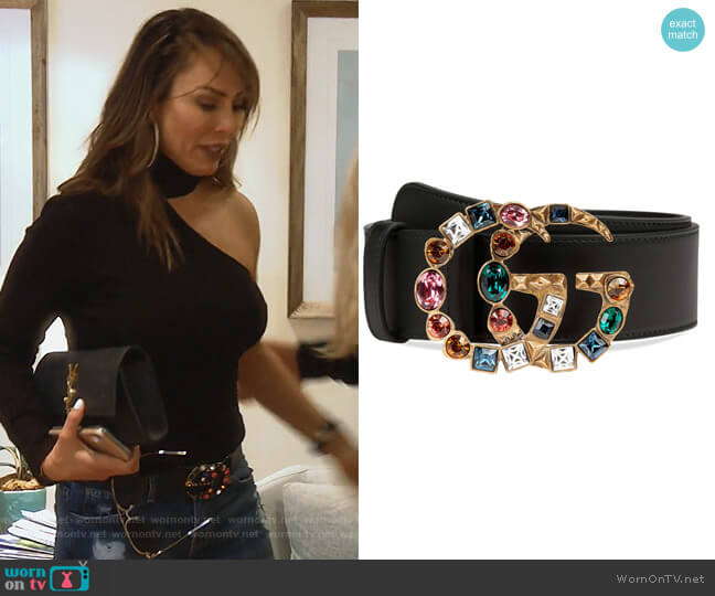 Marmont Crystal Buckle Leather Belt by Gucci worn by Kelly Dodd  on The Real Housewives of Orange County