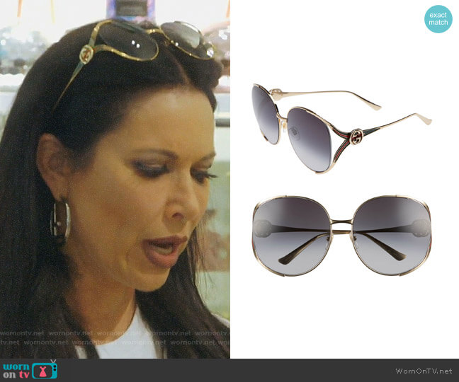 Open Temple Sunglasses by Gucci worn by LeeAnne Locken  on The Real Housewives of Dallas