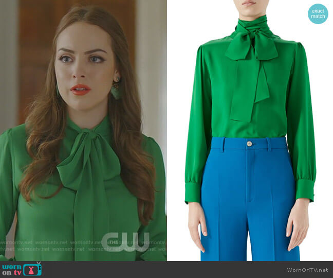 Silk Tie Neck Blouse by Gucci worn by Fallon Carrington (Elizabeth Gillies) on Dynasty
