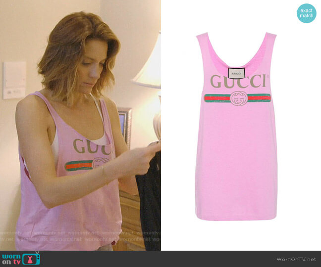 Vintage Logo Print Tank Top by Gucci worn by Cary Deuber  on The Real Housewives of Dallas