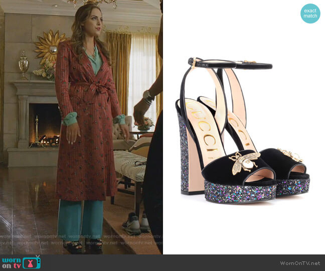 Velvet Sandal with Bee by Gucci worn by Fallon Carrington (Elizabeth Gillies) on Dynasty