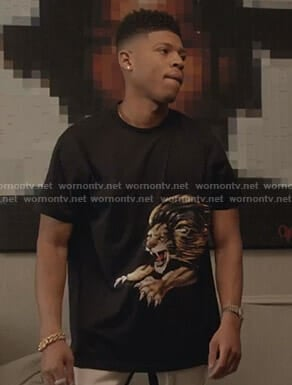 Hakeem's black lion print tee on Empire