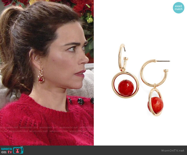 Halogen Stone Drop Hoop Earrings worn by Victoria Newman (Amelia Heinle) on The Young & the Restless