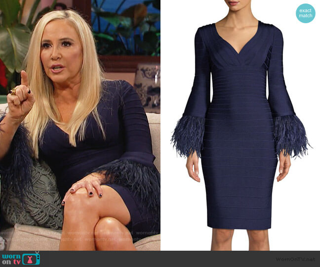 Feather-Trim Bandage Dress by Herve Leger worn by Shannon Beador  on The Real Housewives of Orange County