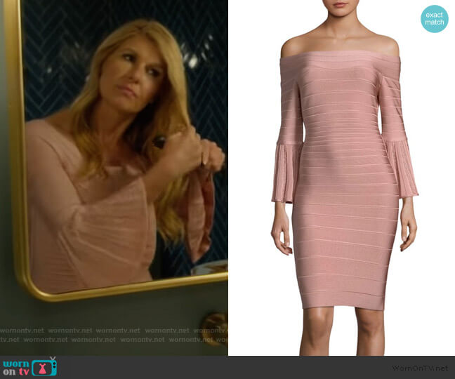 Off-The-Shoulder Bell-Sleeve Cocktail Dress by Herve Leger worn by Debra Newell (Connie Britton) on Dirty John