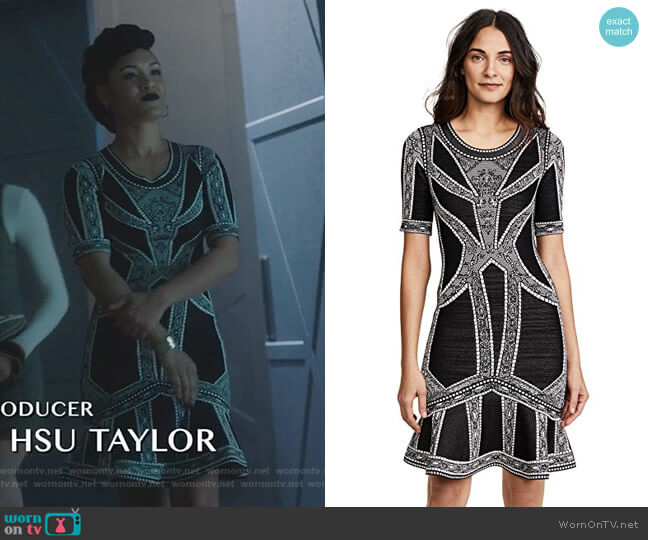 Lace & Eyelet Detail Midi Dress by Herve Leger worn by Reeva Payge (Grace Byers) on The Gifted