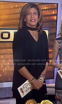 Hoda's black choker neck top on Today
