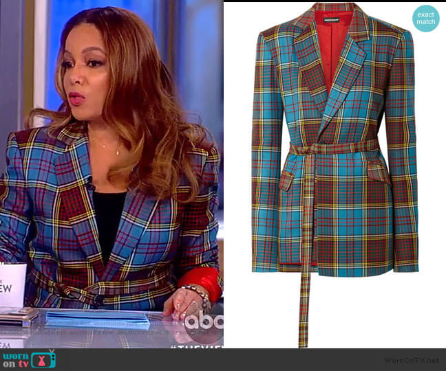 Oversized tartan wool blazer by House of Holland worn by Sunny Hostin (Sunny Hostin) on The View