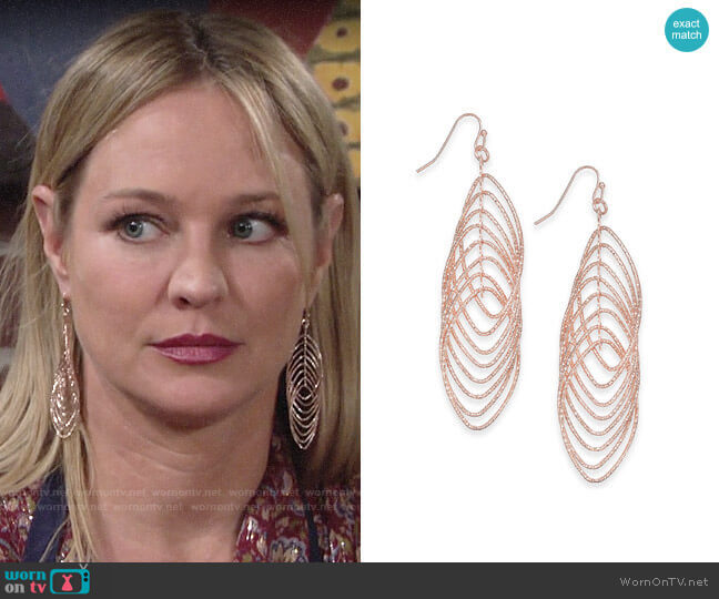 INC International Concepts Navette Multi-Ring Drop Earrings worn by Sharon Collins (Sharon Case) on The Young & the Restless
