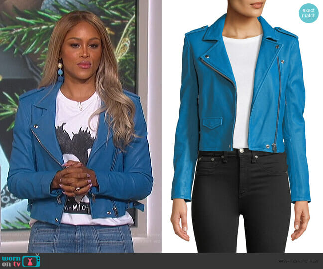 Ashville Cropped Leather Jacket by IRO worn by Eve  on The Talk