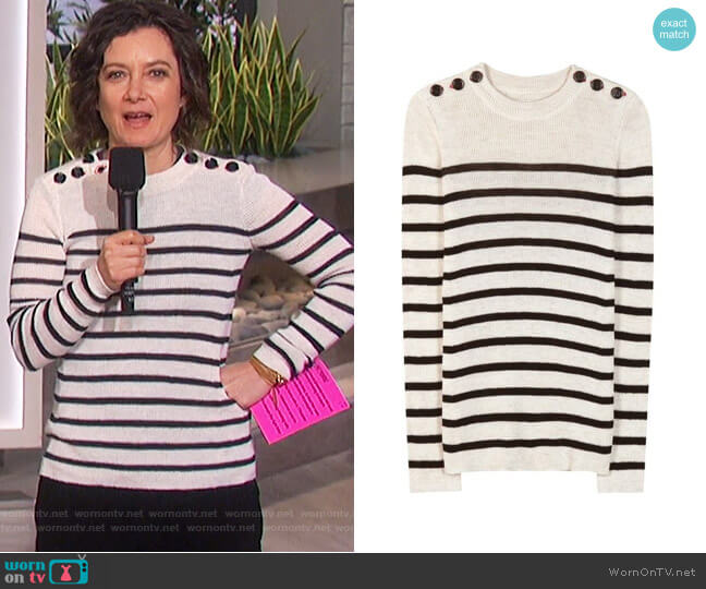 Striped Button Shoulder Sweater by Isabel Marant worn by Sara Gilbert  on The Talk