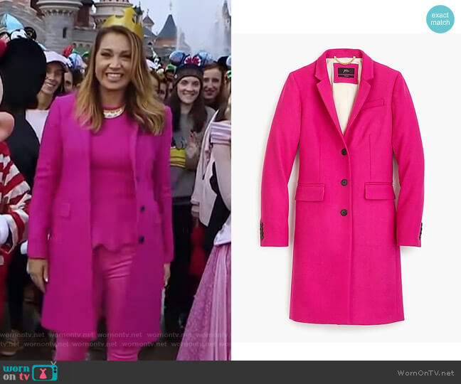 Regent Topcoat in Double-Serge Wool by J.Crew worn by Ginger Zee  on Good Morning America