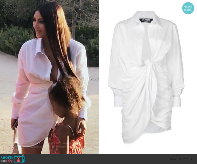 Wrap Style Shirt by Jacquemus worn by Kim Kardashian (Kim Kardashian) on Keeping Up with the Kardashians