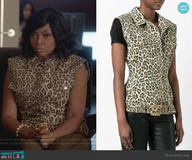 Leopard Print Sleeveless Denim Jacket by Jean Paul Gaultier Vintage worn by Cookie Lyon (Taraji P. Henson) on Empire