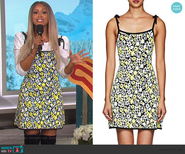 Floral Compact Knit Minidress by JoosTricot worn by Eve  on The Talk