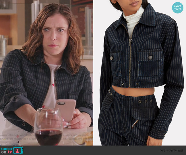 Alix Crop Jacket by Jean Atelier worn by Rebecca Bunch (Rachel Bloom) on Crazy Ex-Girlfriend