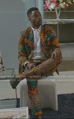 Jeff's african print suit on Dynasty