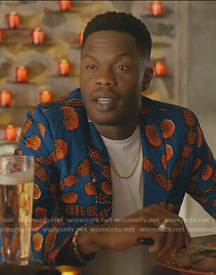 Jeff's blue and orange printed blazer on Dynasty