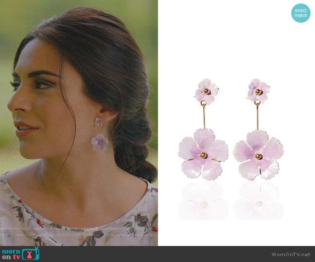 Julia Earrings by Jennifer Behr worn by Cristal Jennings (Daniella Alonso) on Dynasty