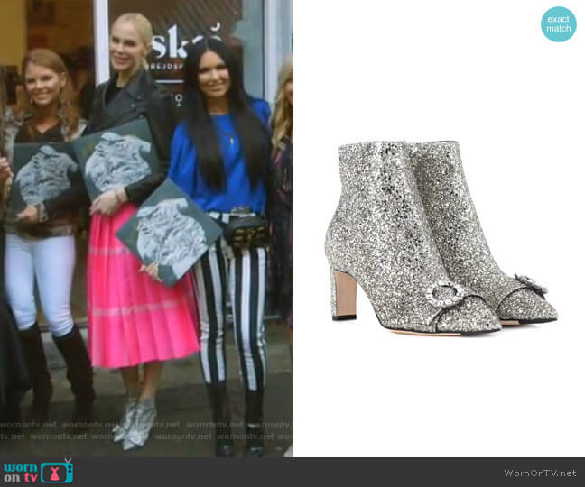 Silver Hanover 65 Glitter Boots by Jimmy Choo worn by Kameron Westcott on The Real Housewives of Dallas