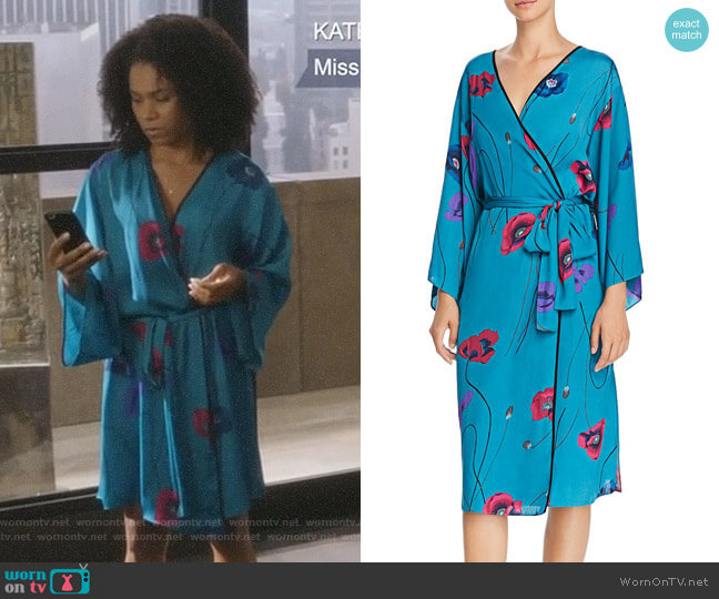 Freestyle Printed Satin Long Robe by Josie worn by Maggie Pierce (Kelly McCreary) on Greys Anatomy