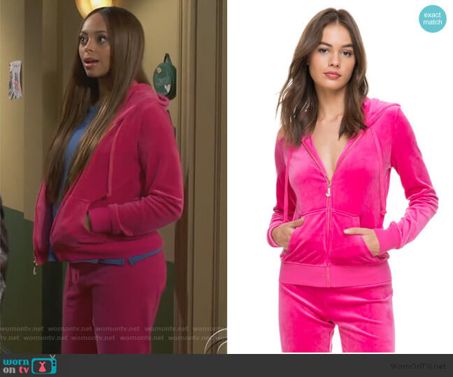 Ultra Luxe Velour Robertson Jacket by Juicy Couture worn by Claire (Amber Stevens West) on Happy Together