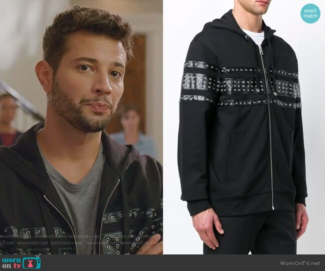 Eyelet Panelled Zipped Hoodie by Just Cavalli worn by Sam Flores (Rafael de la Fuente) on Dynasty