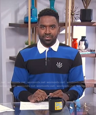 Justin's blue and black striped rugby shirt on E! News Daily Pop