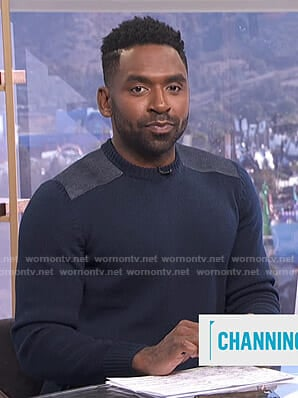 Justin's navy shoulder patch sweater on E! News Daily Pop