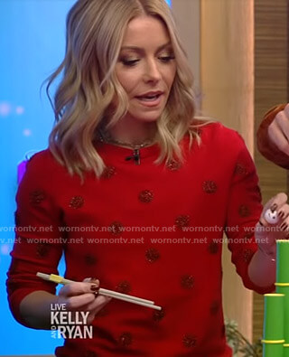 Kelly's red polka dot sweater on Live with Kelly and Ryan