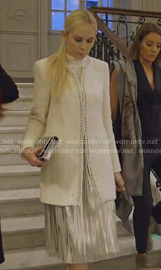 Kameron's white pearl embellished tweed jacket on The Real Housewives of Dallas
