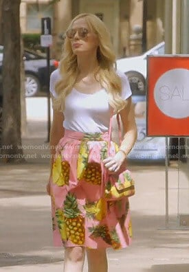 Kameron's pink pineapple print skirt and bag on The Real Housewives of Dallas