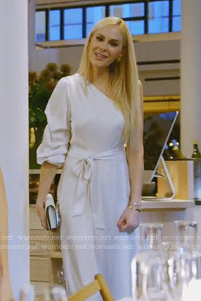 Kameron's white one shoulder dress on The Real Housewives of Dallas