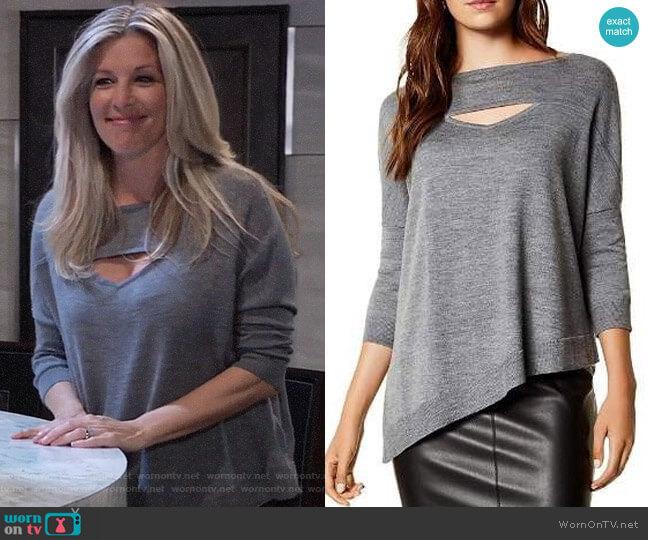 Karen Millen Asymmetric Cutout Wool Sweater worn by Carly Corinthos (Laura Wright) on General Hospital