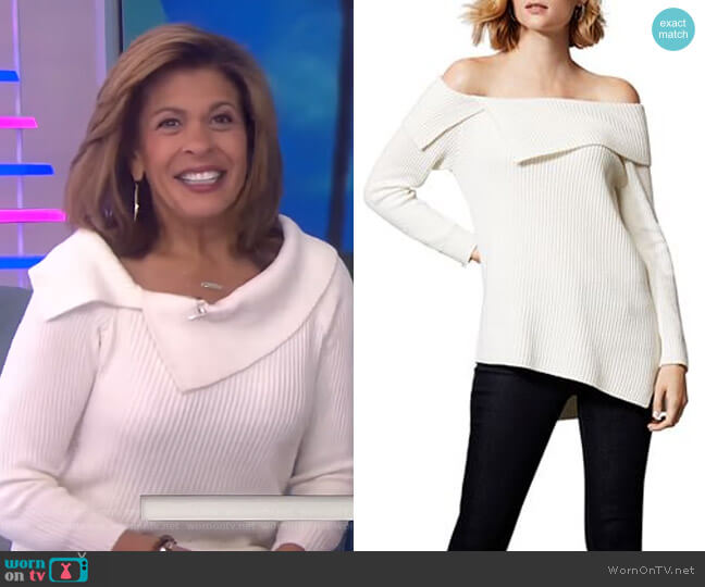 Asymmetric Off-the-Shoulder Sweater by Karen Millen worn by Hoda Kotb  on Today