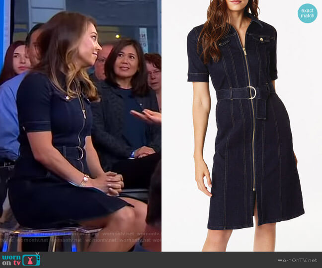 Belted Denim Dress by Karen Millen worn by Ginger Zee  on Good Morning America